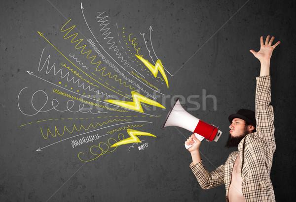 Vezető fickó kiált megafon kézzel rajzolt vonalak Stock fotó © ra2studio