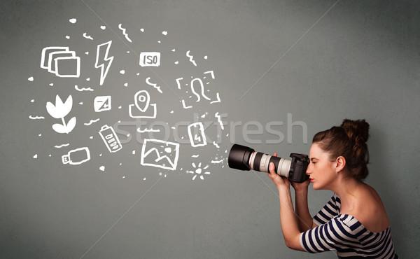 Foto stock: Fotógrafo · menina · branco · fotografia · ícones · símbolos