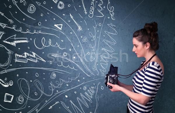 カメラマン 撮影 エネルギッシュな 手描き 行 ストックフォト © ra2studio