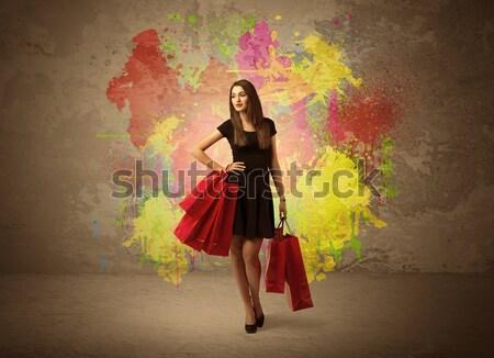 Menina pintar agitar-se feliz jovem Foto stock © ra2studio