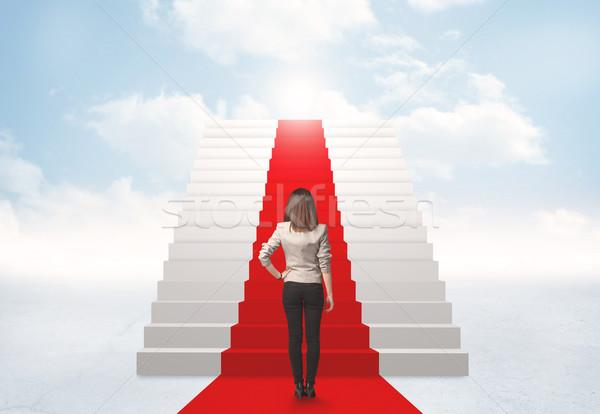 Olhando escada céu empresária negócio menina Foto stock © ra2studio