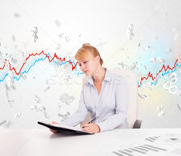 ビジネス女性 座って 表 株式市場 グラフ 3D ストックフォト © ra2studio