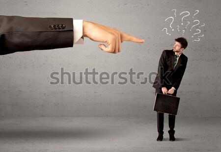 Business handdruk zakenman vraagtekens rond Stockfoto © ra2studio