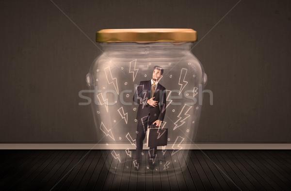 Biznesmen wewnątrz szkła jar pioruna rysunki Zdjęcia stock © ra2studio