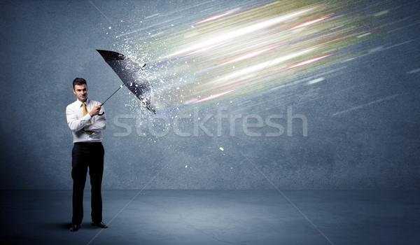 деловой человек свет зонтик бизнеса интернет работу Сток-фото © ra2studio