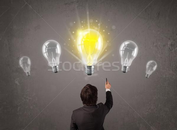 事業者 アイデア 電球 明るい 手 技術 ストックフォト © ra2studio