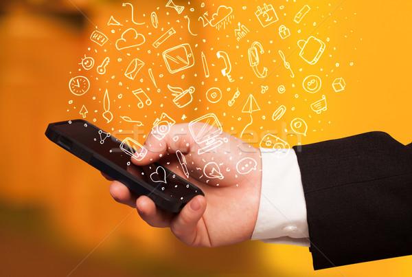 стороны смартфон рисованной СМИ иконки Сток-фото © ra2studio