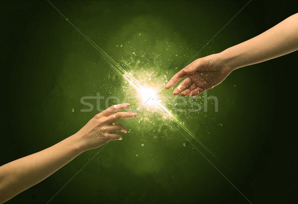 Megérint karok világítás szikra ujjhegy kettő Stock fotó © ra2studio