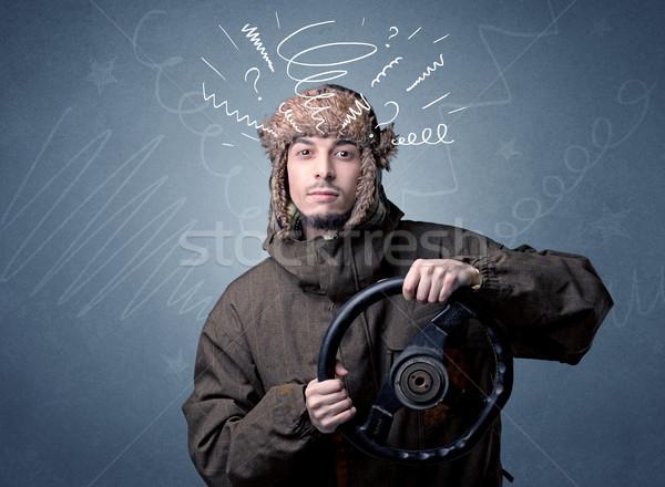Człowiek kierownica młody człowiek czarny biały Zdjęcia stock © ra2studio