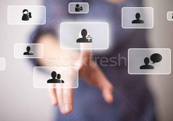 Hand social media knop business man Stockfoto © ra2studio