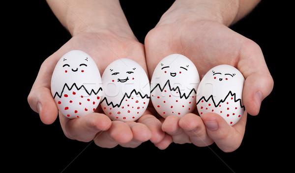 Mano cute uova faccia buffa smileys Foto d'archivio © ra2studio