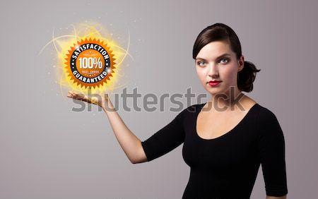 woman holding virtual shield sign Stock photo © ra2studio