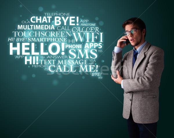 Fiatalember készít telefonbeszélgetés szófelhő öltöny telefon Stock fotó © ra2studio