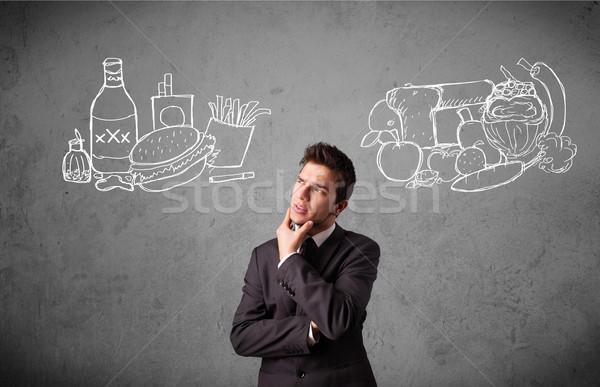 Empresário em pé saudável insalubre jovem Foto stock © ra2studio