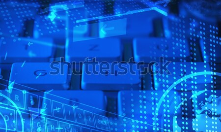 Stock photo: Keyboard with glowing icons