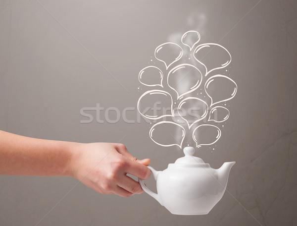 Coffee pot with hand drawn speech bubbles Stock photo © ra2studio