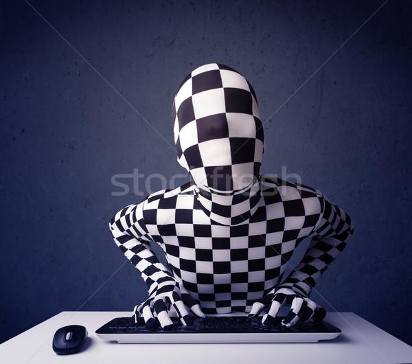 Man identiteit werken toetsenbord Blauw muis Stockfoto © ra2studio