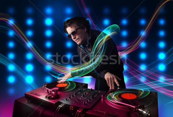 Stock fotó: Fiatal · lemezek · színes · fények · vonzó · buli