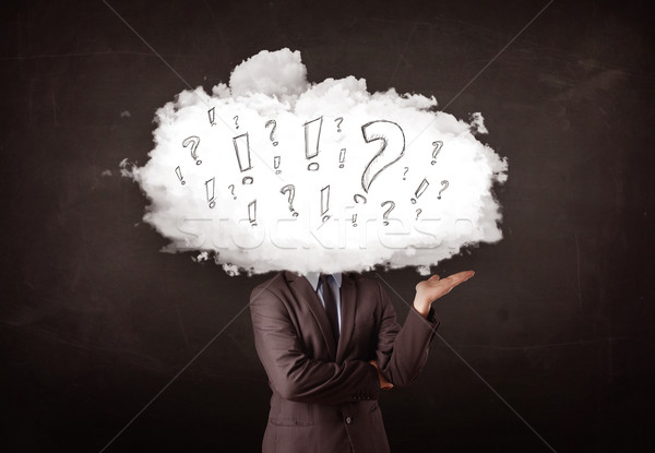 Business man cloud head with question and exclamation marks  Stock photo © ra2studio