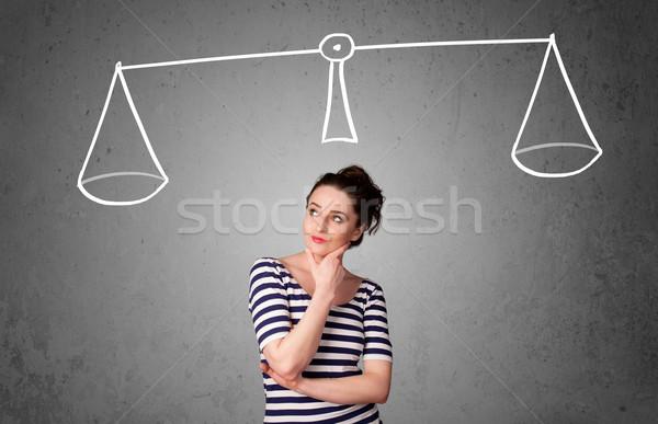 Stock fotó: Fiatal · nő · elvesz · döntés · csinos · fiatal · hölgy