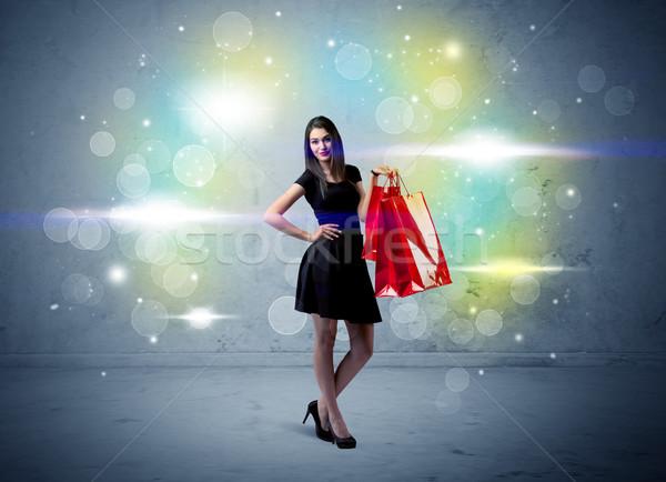 Alışveriş merkezi bayan parıltı ışık güzel Stok fotoğraf © ra2studio