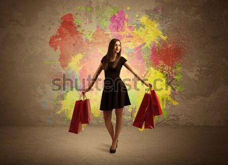 少女 ショッピングバッグ 塗料 スプラッタ 幸せ 小さな ストックフォト © ra2studio