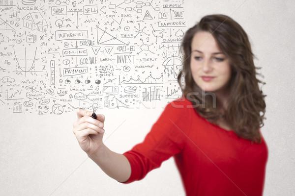 Gedanken Ideen Frau Büro Technologie Stock foto © ra2studio