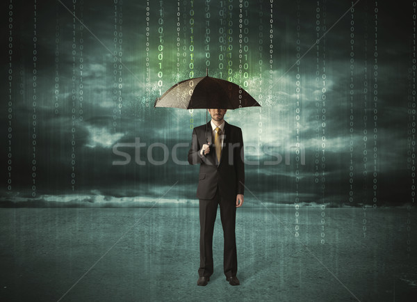 Homme d'affaires permanent parapluie protection des données internet homme Photo stock © ra2studio