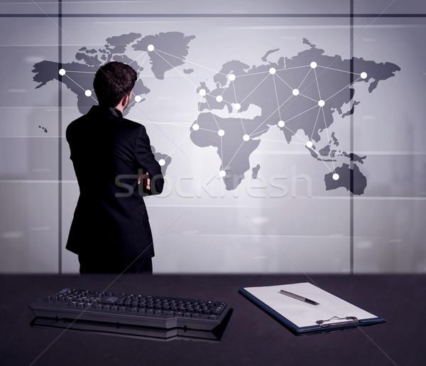 事業者 図面 世界地図 小さな 事務員 ストックフォト © ra2studio