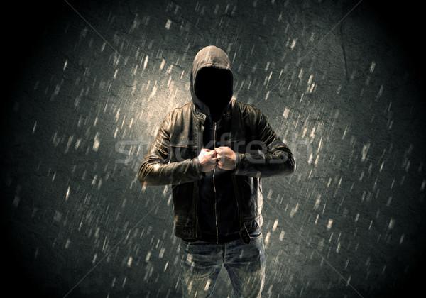 Desconocido pie oscuro hombre chaqueta de cuero visible Foto stock © ra2studio