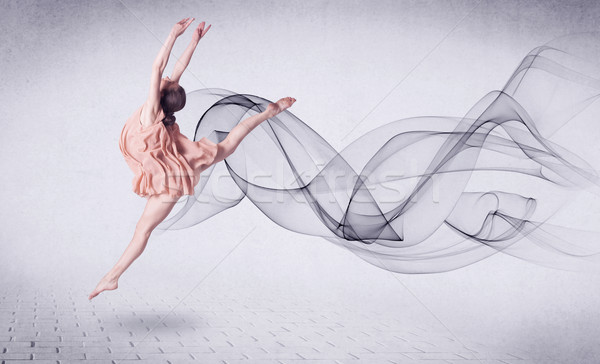 Modern ballet dancer performing with abstract swirl Stock photo © ra2studio