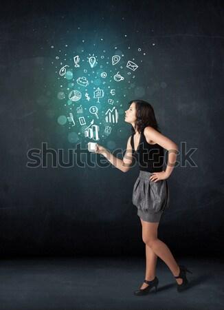 Işkadını beyaz fincan sosyal medya simgeler Stok fotoğraf © ra2studio