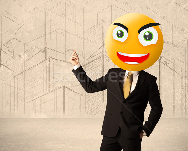 Empresário rosto sorridente engraçado amarelo sorrir feliz Foto stock © ra2studio