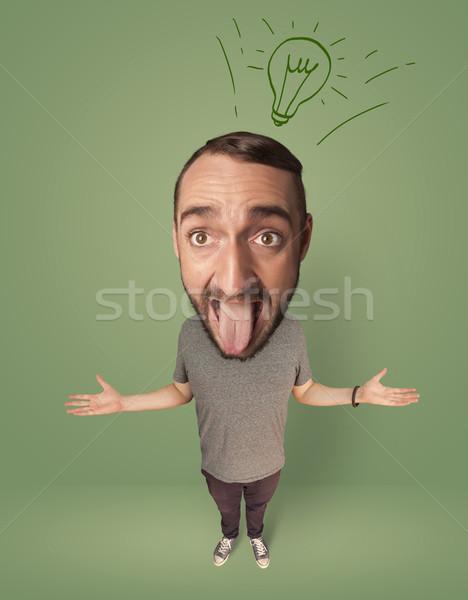 большой голову человек Идея лампа смешные Сток-фото © ra2studio