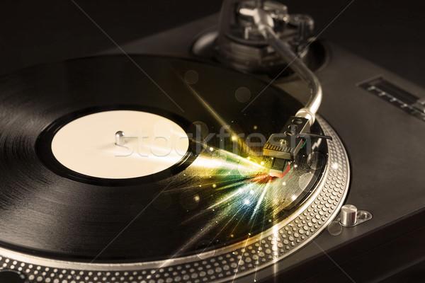 Muziekspeler spelen vinyl gloed lijnen behoefte Stockfoto © ra2studio