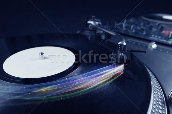 Stock fotó: Zenelejátszó · játszik · bakelit · zene · színes · absztrakt