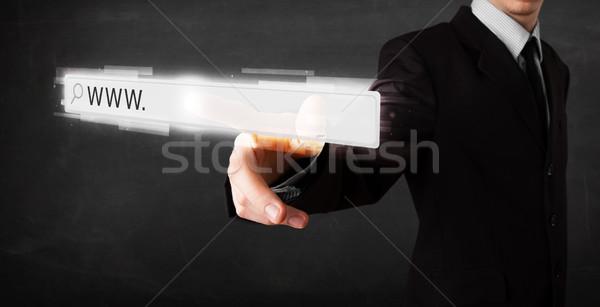 Jeunes affaires toucher web navigateur adresse Photo stock © ra2studio