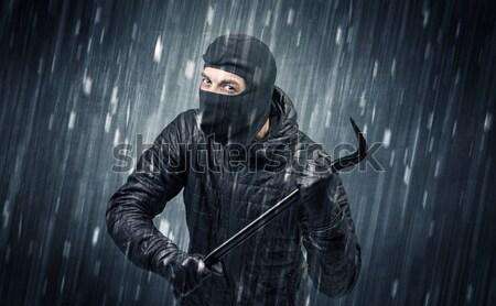 Gewapend terrorist man masker regenachtig Stockfoto © ra2studio