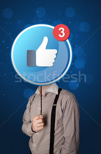 бизнесмен facebook знак случайный подобно Сток-фото © ra2studio