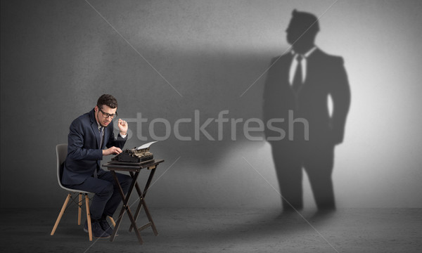 Schaduw werknemer man werk achtergrond pak Stockfoto © ra2studio