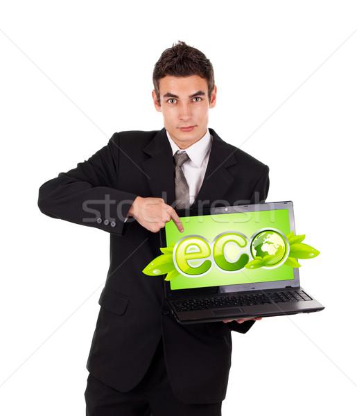 Hombre de negocios senalando eco portátil aislado blanco Foto stock © ra2studio