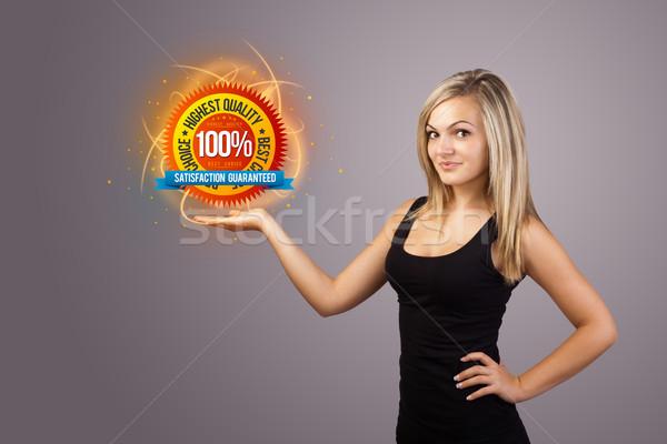 Nő tart virtuális üzlet felirat fiatal nő Stock fotó © ra2studio