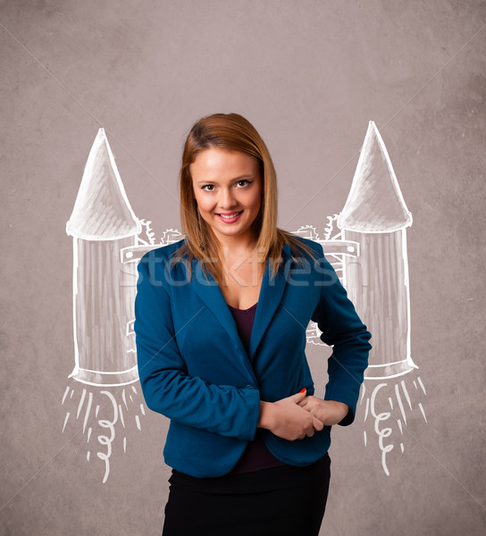 Cute girl with jet pack rocket drawing illustration Stock photo © ra2studio