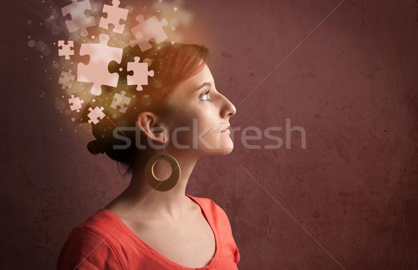 ストックフォト: 小さな · 人 · 思考 · パズル · 心