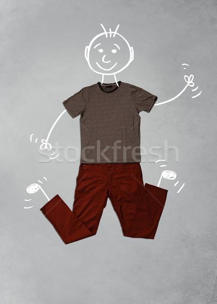 Aranyos vicces rajzfilmfigura lezser ruházat kézzel rajzolt Stock fotó © ra2studio