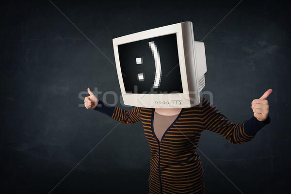 Funny nina supervisar cuadro cabeza cara sonriente Foto stock © ra2studio