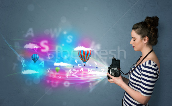 Photographe caméra résumé imaginaire cute fille Photo stock © ra2studio