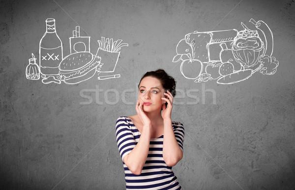 Stockfoto: Vrouw · permanente · gezonde · ongezond · mooie