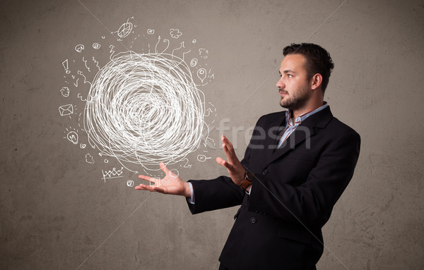 хаос стороны бизнесмен молодые человека Сток-фото © ra2studio