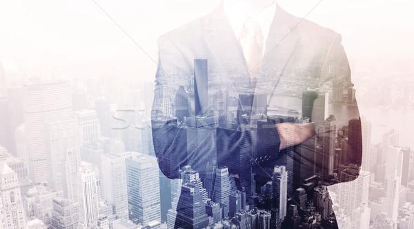 üzletember áll tető város városkép üzlet Stock fotó © ra2studio